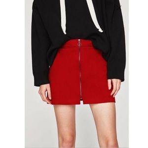 Zara Trafaluc Retro Red Faux Suede Mini Skirt